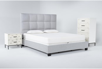 Boswell 3 Piece Eastern King Upholstered Bedroom Set With Elden Chest Of Drawers + 2 Drawer Nightstand