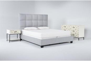 Boswell 3 Piece Eastern King Upholstered Bedroom Set With Elden Dresser + 1 Drawer Nightstand