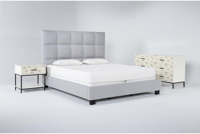 Boswell 3 Piece Eastern King Upholstered Bedroom Set With Elden Dresser + 1 Drawer Nightstand - 360