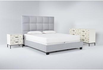 Boswell 3 Piece Eastern King Upholstered Bedroom Set With Elden Dresser + 2 Drawer Nightstand