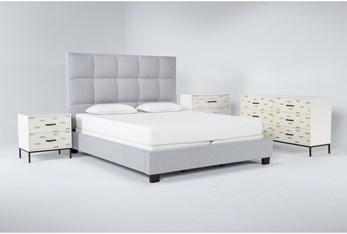 Boswell 4 Piece Eastern King Upholstered Bedroom Set With Elden Dresser, Bachelors Chest + 2 Drawer Nightstand