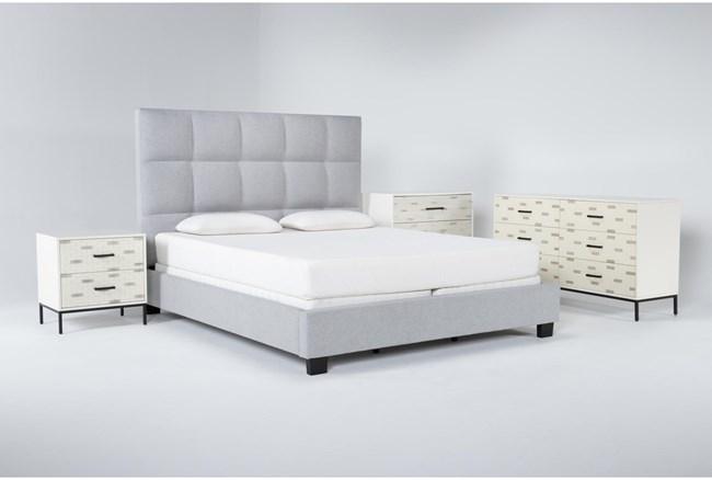 Boswell 4 Piece Eastern King Upholstered Bedroom Set With Elden Dresser, Bachelors Chest + 2 Drawer Nightstand - 360