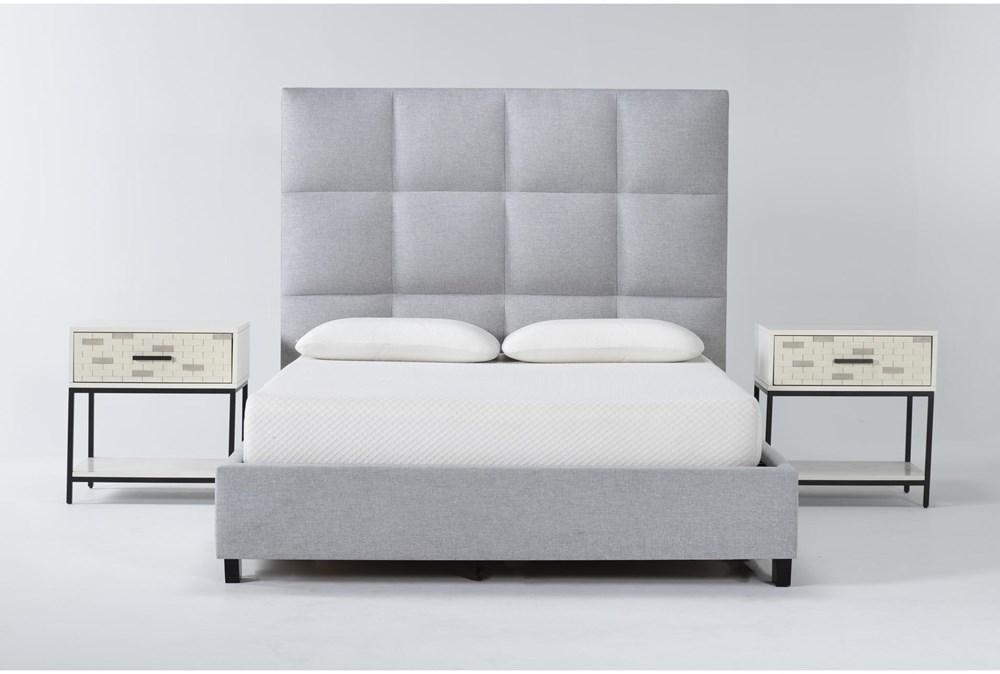 Boswell 3 Piece Queen Upholstered Bedroom Set With 2 Elden 1 Drawer Nightstands