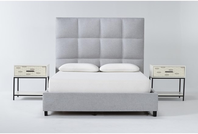 Boswell 3 Piece Queen Upholstered Bedroom Set With 2 Elden 1 Drawer Nightstands - 360