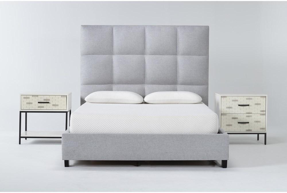 Boswell 3 Piece Queen Upholstered Bedroom Set With Elden 2 Drawer Nightstand + 1 Drawer Nightstand