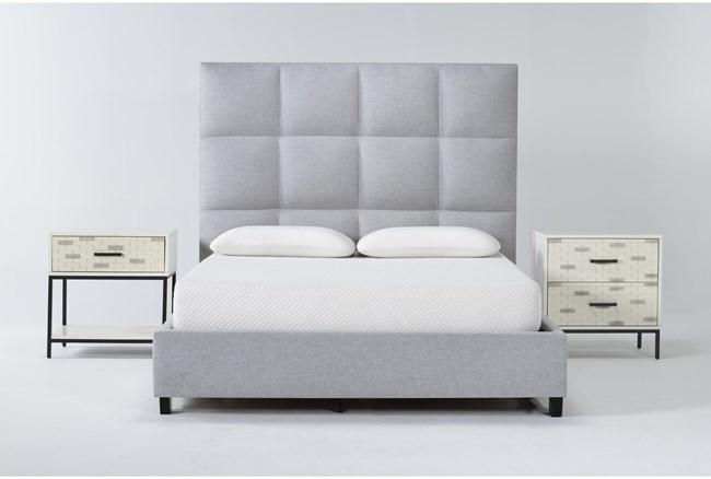 Boswell 3 Piece Queen Upholstered Bedroom Set With Elden 2 Drawer Nightstand + 1 Drawer Nightstand - 360