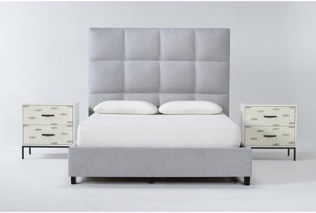 Boswell 3 Piece Queen Upholstered Bedroom Set With 2 Elden 2 Drawer Nightstands - 360