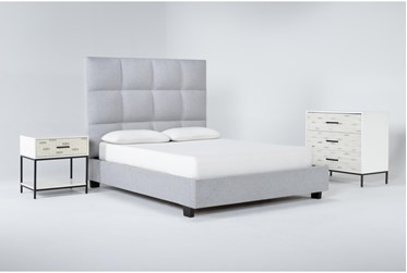 Boswell 3 Piece Queen Upholstered Bedroom Set With Elden Bachelors Chest + 1 Drawer Nightstand