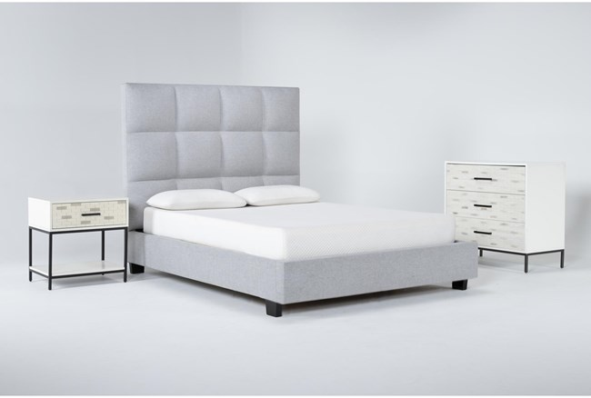 Boswell 3 Piece Queen Upholstered Bedroom Set With Elden Bachelors Chest + 1 Drawer Nightstand - 360