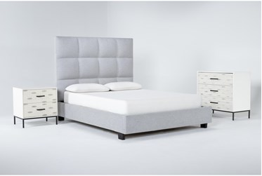 Boswell 3 Piece Queen Upholstered Bedroom Set With Elden Bachelors Chest + 2 Drawer Nightstand