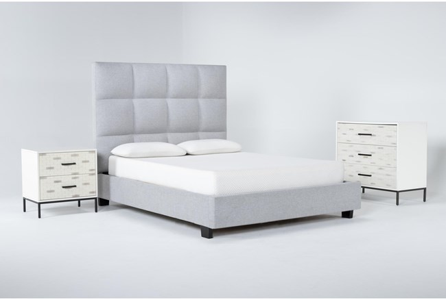 Boswell 3 Piece Queen Upholstered Bedroom Set With Elden Bachelors Chest + 2 Drawer Nightstand - 360