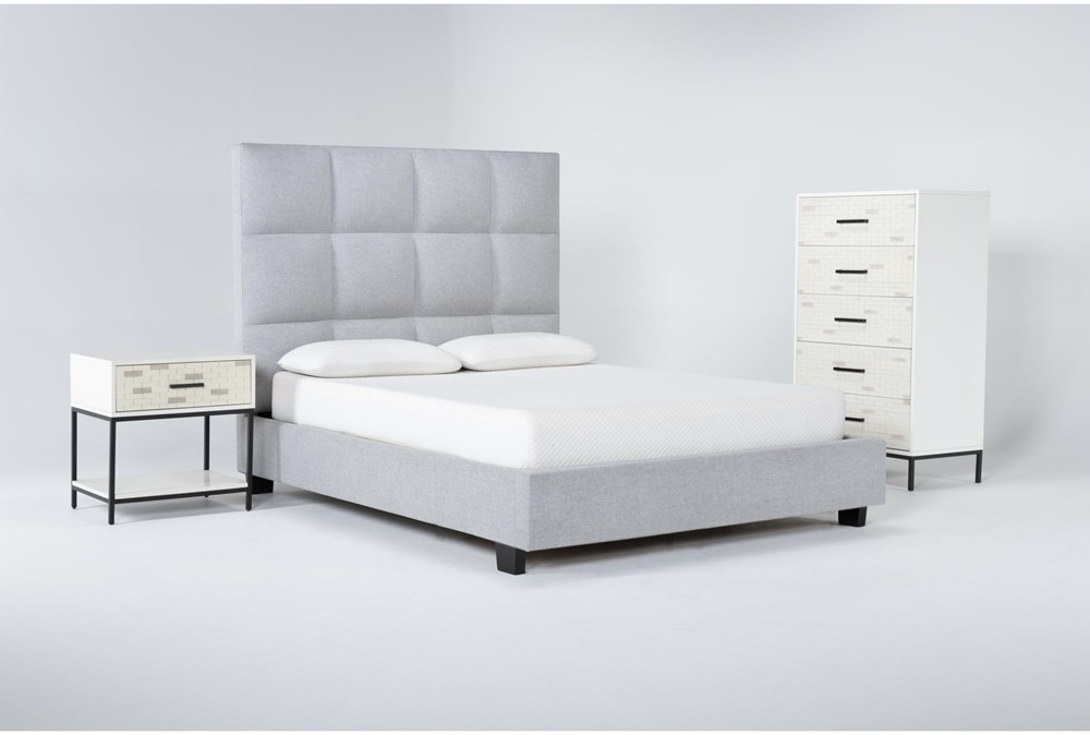 Boswell 3 Piece Queen Upholstered Bedroom Set With Elden Chest Of Drawers + 1 Drawer Nightstand