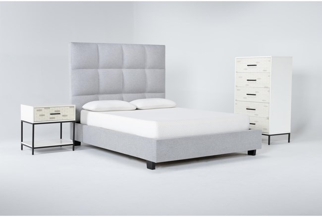 Boswell 3 Piece Queen Upholstered Bedroom Set With Elden Chest Of Drawers + 1 Drawer Nightstand - 360