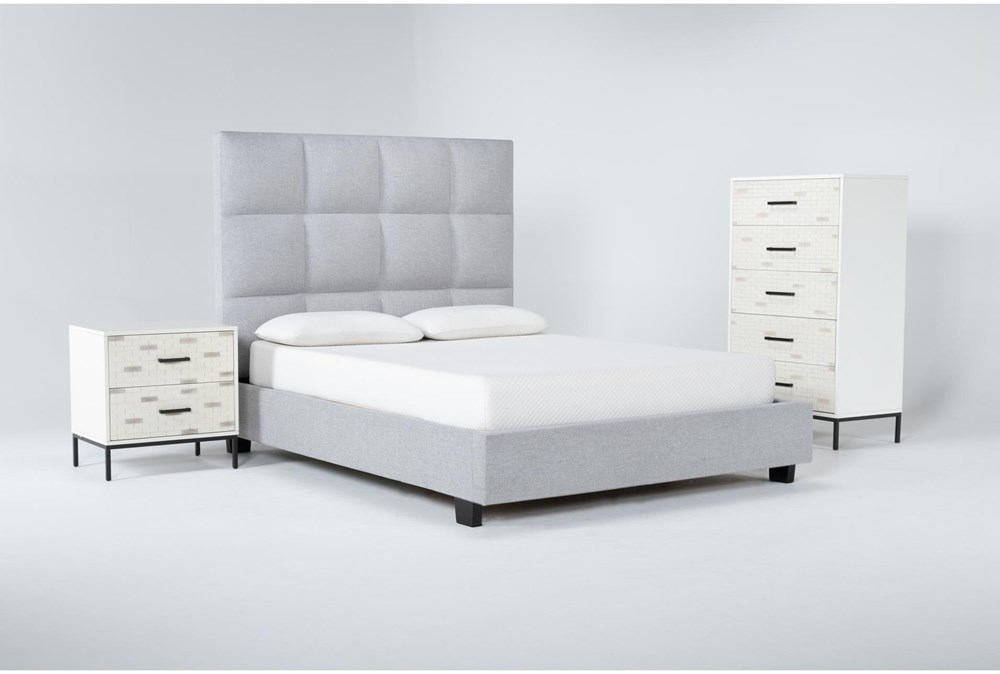Boswell 3 Piece Queen Upholstered Bedroom Set With Elden Chest Of Drawers + 2 Drawer Nightstand