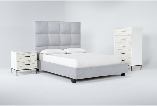 Boswell 3 Piece Queen Upholstered Bedroom Set With Elden Chest Of Drawers + 2 Drawer Nightstand - 360