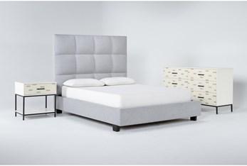 Boswell 3 Piece Queen Upholstered Bedroom Set With Elden Dresser + 1 Drawer Nightstand