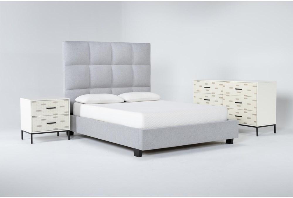 Boswell 3 Piece Queen Upholstered Bedroom Set With Elden Dresser + 2 Drawer Nightstand