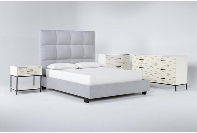 Boswell 4 Piece Queen Upholstered Bedroom Set With Elden Dresser, Bachelors Chest + 1 Drawer Nightstand - 360