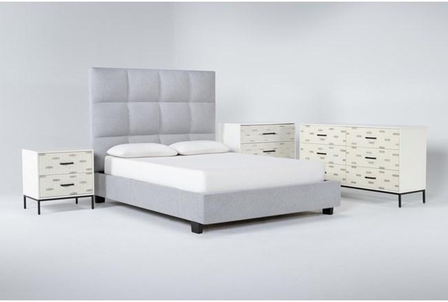 Boswell 4 Piece Queen Upholstered Bedroom Set With Elden Dresser, Bachelors Chest + 2 Drawer Nightstand - 360