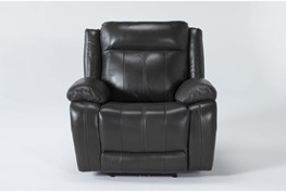 Hogan Charcoal Leather Power Recliner With Power Headrest & Usb