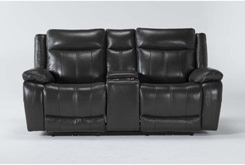 Hogan Charcoal Leather Power Reclining Console Loveseat With Power Headrest & Usb