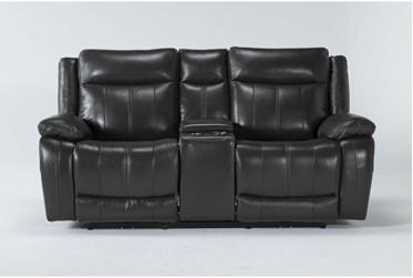 """Hogan Charcoal Leather 78"""" Power Reclining Console Loveseat With Power Headrest & Usb"""