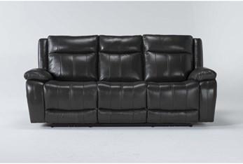Hogan Charcoal Leather Power Reclining Sofa With Power Headrest & Usb