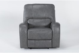 Trousdale Grey Leather Power Recliner With Power Headrest & Usb