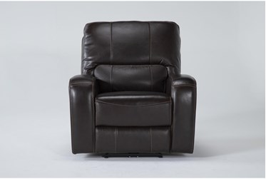 Trousdale Brown Leather Power Recliner With Power Headrest & Usb