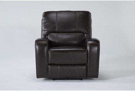 Trousdale Brown Leather Power Recliner With Power Headrest & Usb - Main