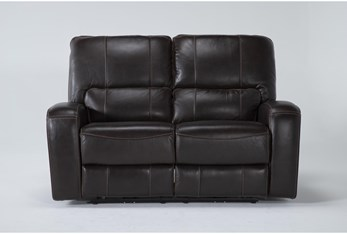 Trousdale Brown Leather Power Reclining Loveseat With Power Headrest & Usb