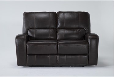 """Trousdale Brown Leather 63"""" Power Reclining Loveseat With Power Headrest & Usb"""