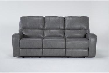 "Trousdale Grey Leather 86"" Power Reclining Sofa With Power Headrest & Usb"