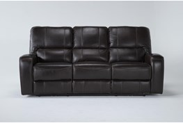 """Trousdale Brown Leather 86"""" Power Reclining Sofa With Power Headrest & Usb"""