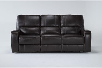 Trousdale Brown Leather Power Reclining Sofa With Power Headrest & Usb