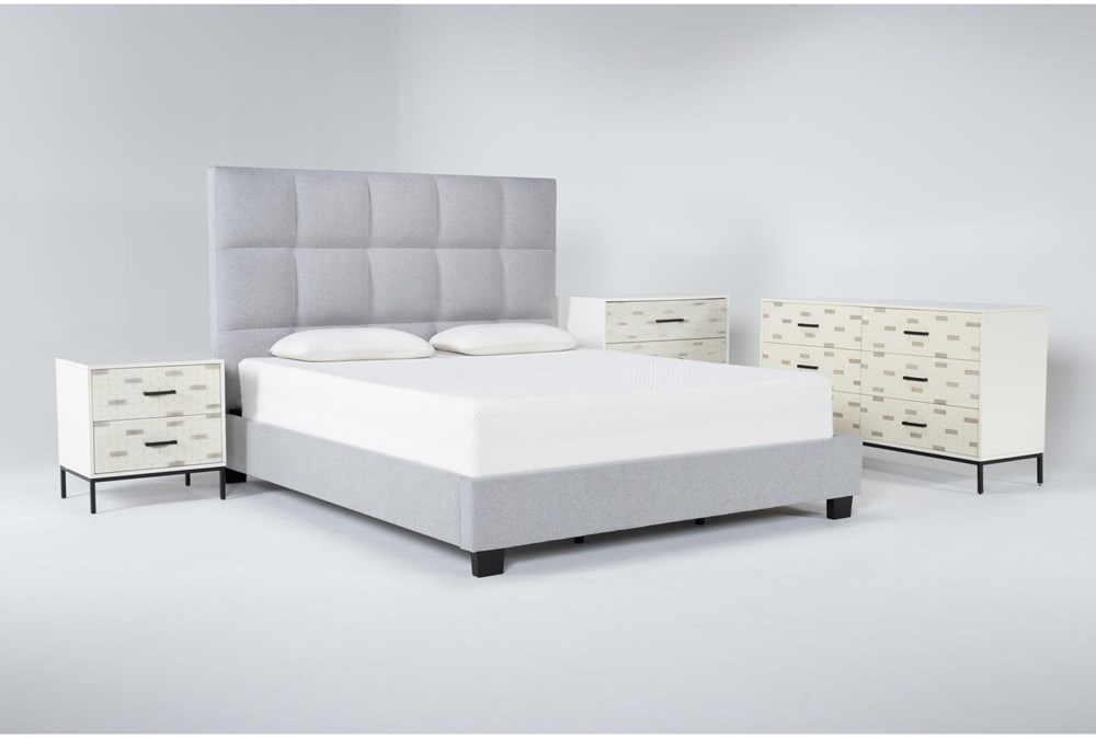 Boswell 4 Piece California King Upholstered Storage Bedroom Set With Elden Dresser, Bachelors Chest + 2 Drawer Nightstand