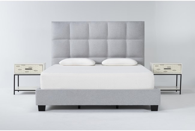 Boswell 3 Piece California King Upholstered Storage Bedroom Set With 2 Elden 1 Drawer Nightstands - 360