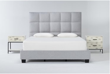 Boswell 3 Piece California King Upholstered Storage Bedroom Set With Elden 2 Drawer Nightstand + 1 Drawer Nightstand