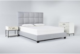 Boswell 3 Piece California King Upholstered Storage Bedroom Set With Elden Bachelors Chest + 1 Drawer Nightstand