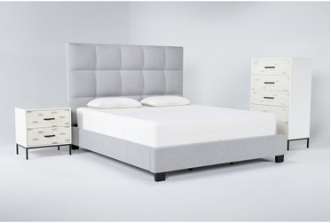 Boswell 3 Piece California King Upholstered Storage Bedroom Set With Elden Chest Of Drawers + 2 Drawer Nightstand