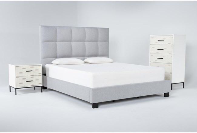 Boswell 3 Piece California King Upholstered Storage Bedroom Set With Elden Chest Of Drawers + 2 Drawer Nightstand - 360