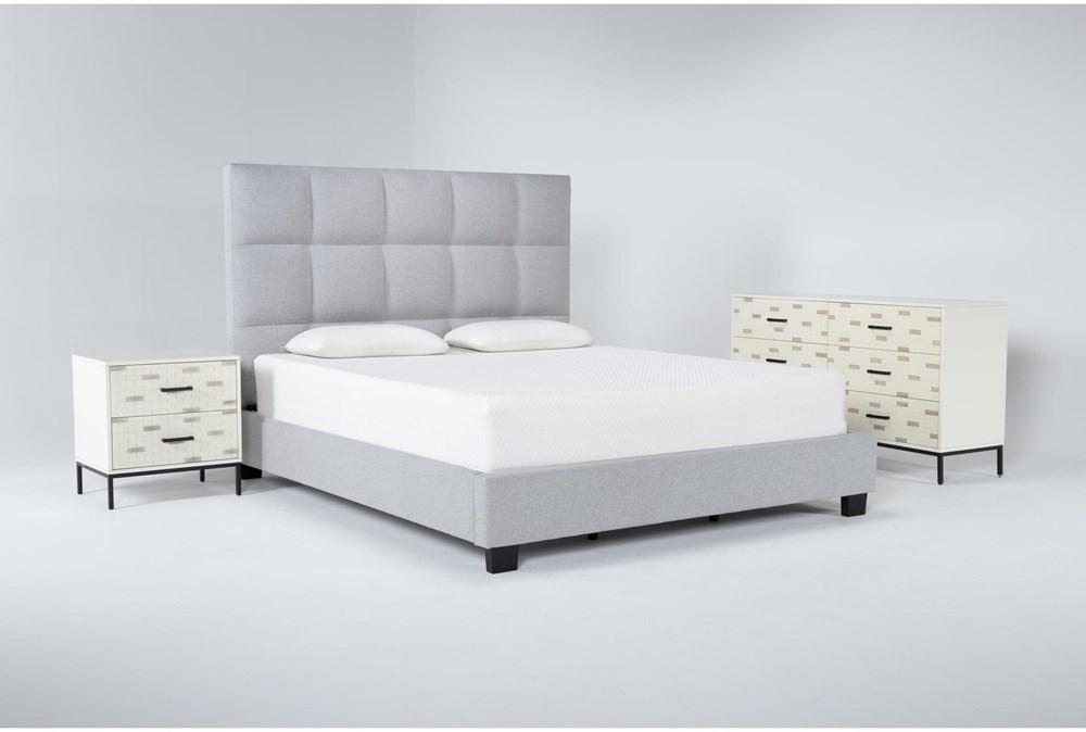 Boswell 3 Piece California King Upholstered Storage Bedroom Set With Elden Dresser + 2 Drawer Nightstand