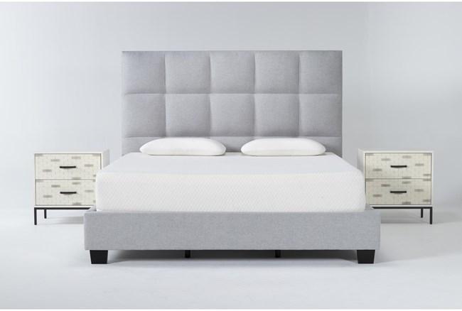 Boswell 3 Piece Eastern King Upholstered Storage Bedroom Set With 2 Elden 2 Drawer Nightstands - 360