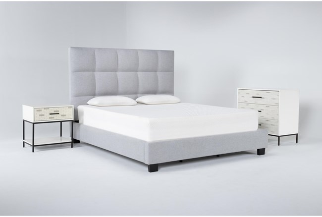 Boswell 3 Piece Eastern King Upholstered Storage Bedroom Set With Elden Bachelors Chest + 1 Drawer Nightstand - 360