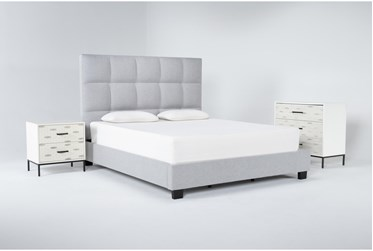 Boswell 3 Piece Eastern King Upholstered Storage Bedroom Set With Elden Bachelors Chest + 2 Drawer Nightstand
