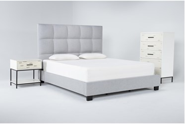 Boswell 3 Piece Eastern King Upholstered Storage Bedroom Set With Elden Chest Of Drawers + 1 Drawer Nightstand