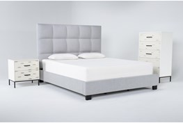 Boswell 3 Piece Eastern King Upholstered Storage Bedroom Set With Elden Chest Of Drawers + 2 Drawer Nightstand