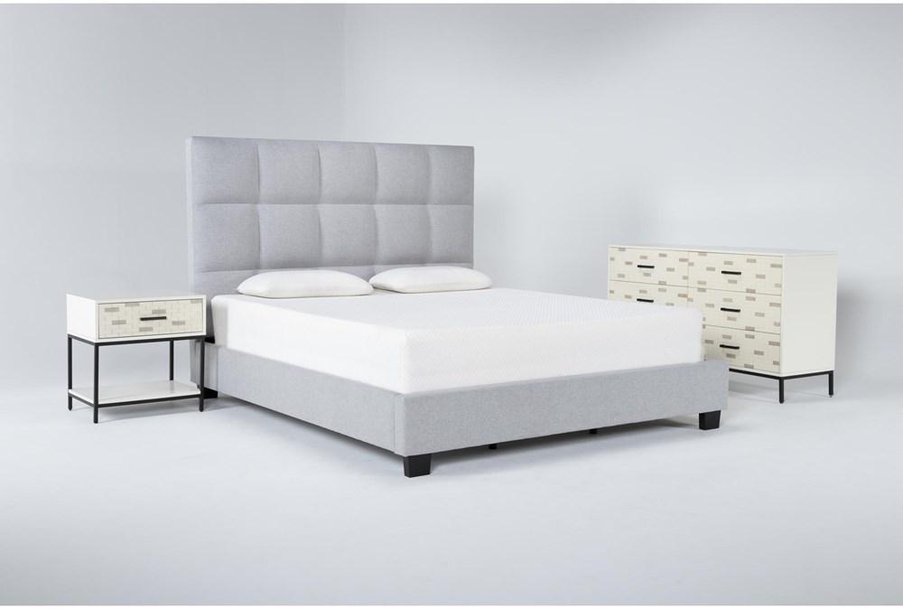 Boswell 3 Piece Eastern King Upholstered Storage Bedroom Set With Elden Dresser + 1 Drawer Nightstand