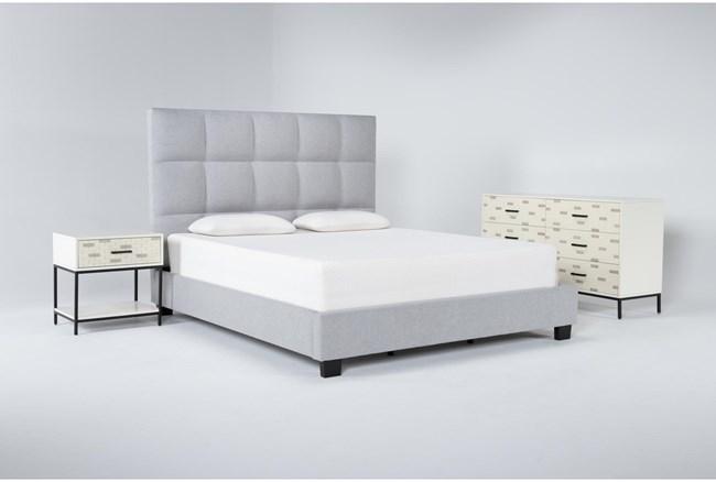 Boswell 3 Piece Eastern King Upholstered Storage Bedroom Set With Elden Dresser + 1 Drawer Nightstand - 360