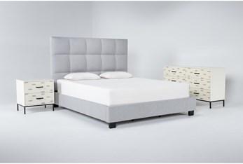 Boswell 3 Piece Eastern King Upholstered Storage Bedroom Set With Elden Dresser + 2 Drawer Nightstand